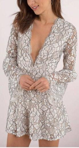 Tobi White Lace Bell Sleeve Dress