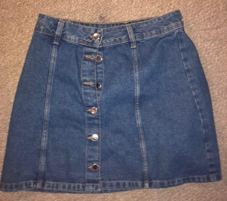 Divided High Waisted Denim Button-Up Skirt