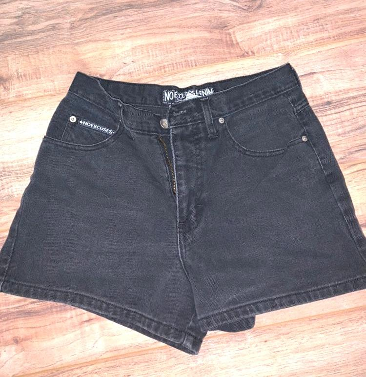 No Excuses Denim Black Shorts