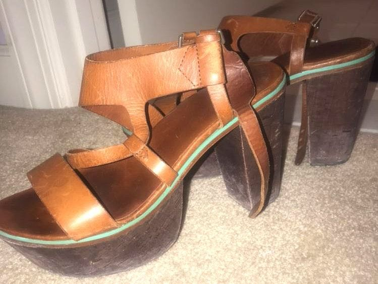 Rag & Bone Brown Leather Platform Fun Summer Heels
