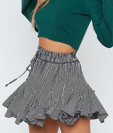 Beginning Boutique Striped Mini Skirt