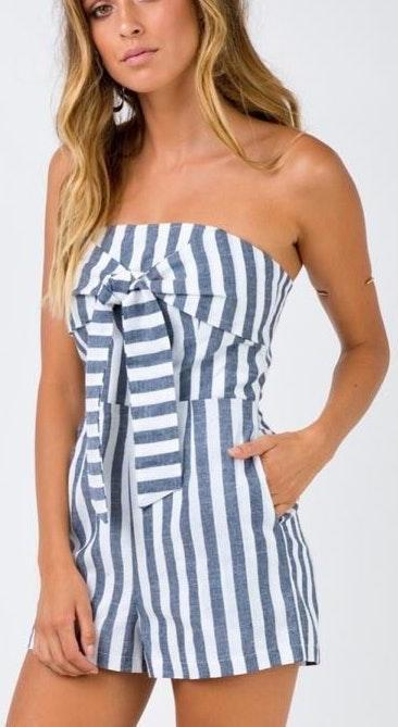 Princess Polly Blue And White Striped Romper