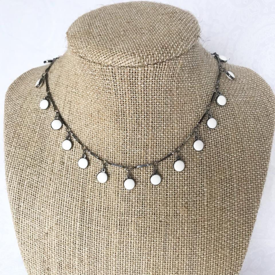 Gunmetal And White Choker