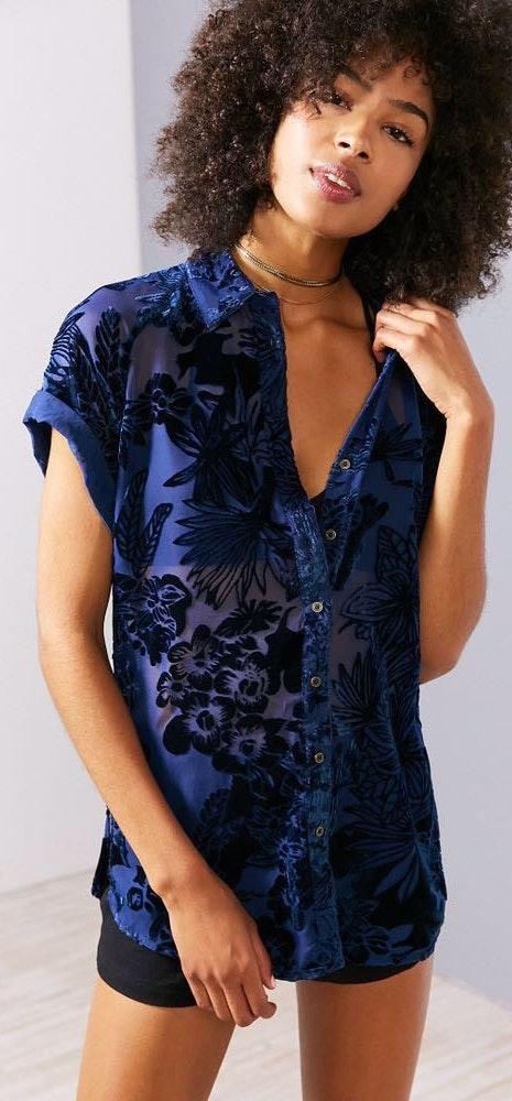 Ecote Blue Floral Velvet Button-Down Shirt