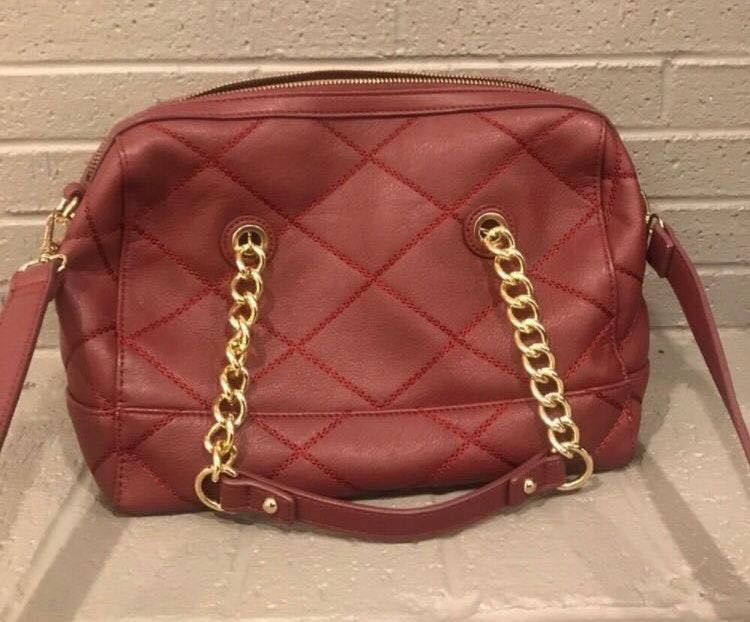 Red Crossbody Purse Gold Accents