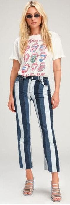 Lulus Stripe Denim Highwaist Capris