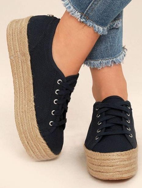 Steve Madden Hampton Sneakers - Black Platform Espadrille