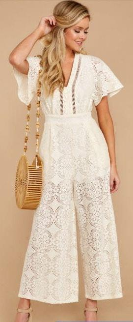 Flying Tomato Cream Lace Jumpsuit