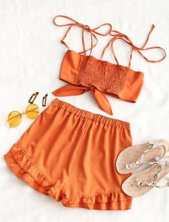 Zaful tie top and ruffle shorts set