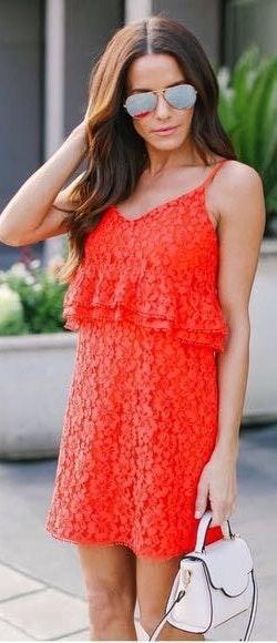 Sugar and L!ps Coral Lace Mini Dress