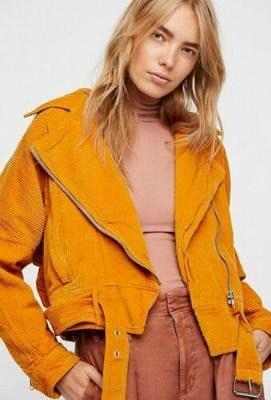 Free People Yellow  Corduroy Jacket