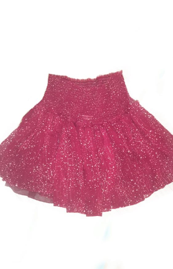 Love Shack Fancy Red Smocked Skirt