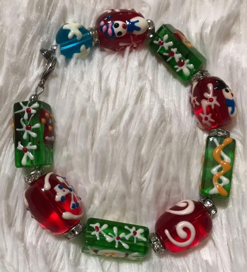 "Handmade Lampwork Beaded Bracelet Size 7"""