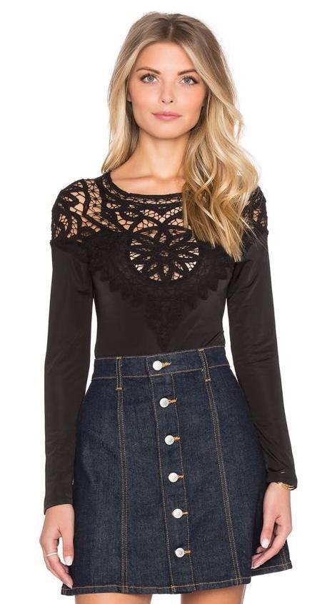 For Love & Lemons Penelope Black Crochet Bodysuit