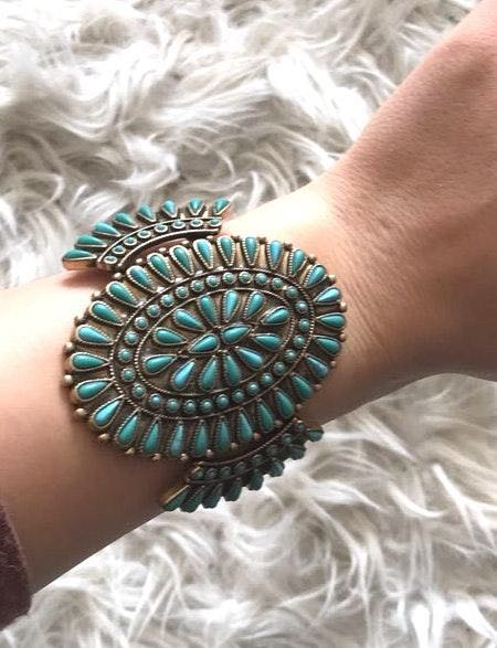 Lucky Brand Teal And Gold Cuff Bracelet