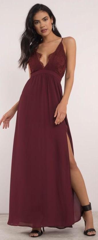 Tobi Wine Lace Formal Dress