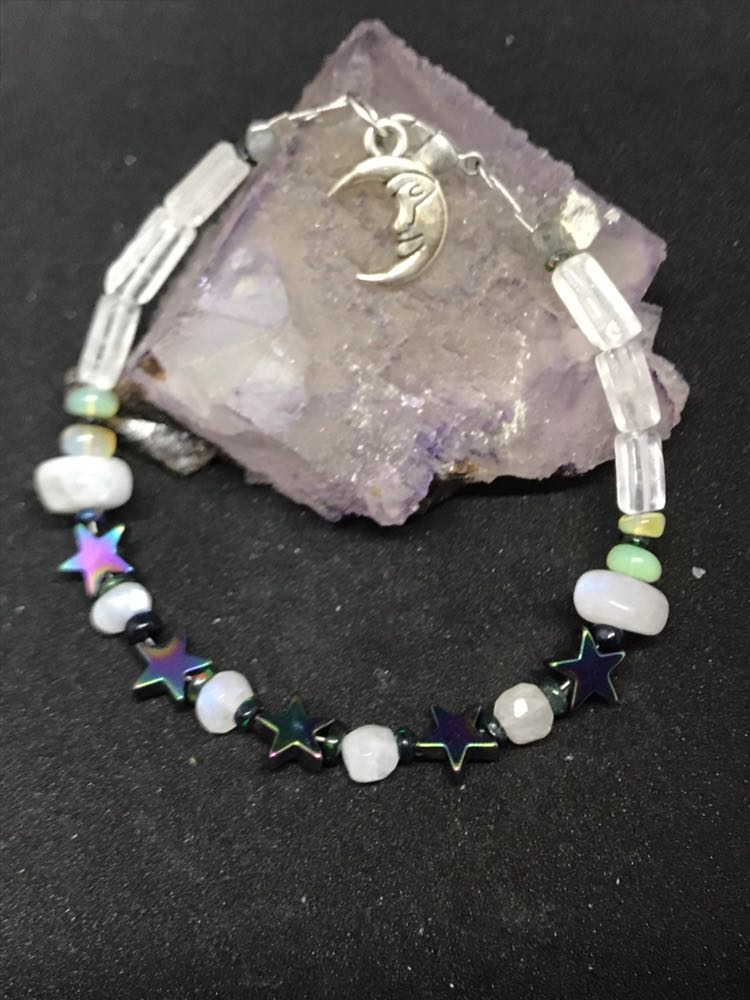 Handmade Moonstone And Opal Bracelet