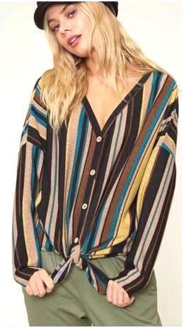 Fantastic Fawn Multi Stripe Button Down Knit Knot T