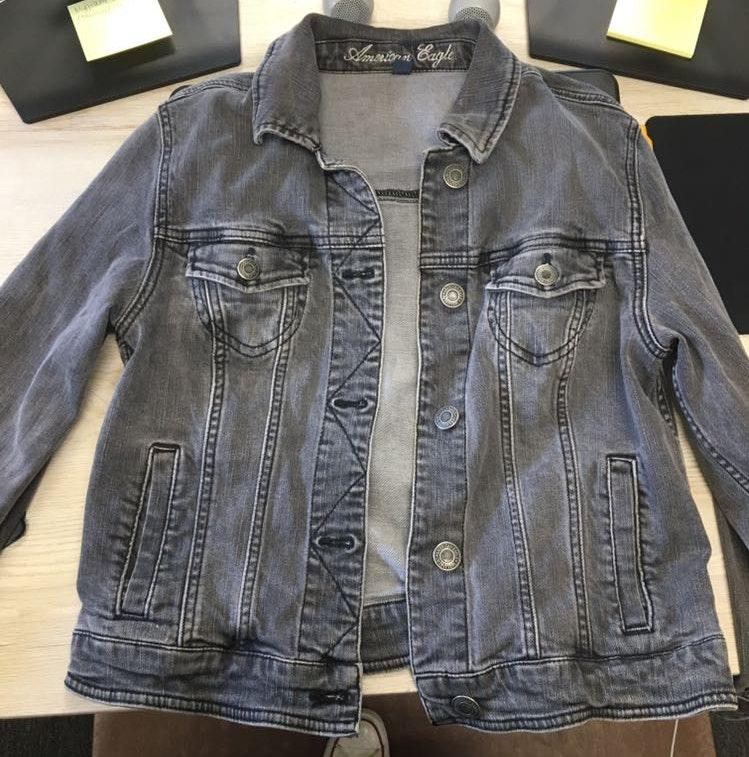 American Eagle Outfitters Black Washed Denim Jacket