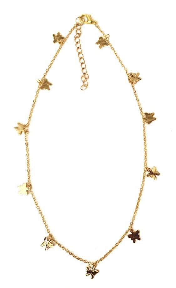 Beaded by Meg Gold Butterfly Choker