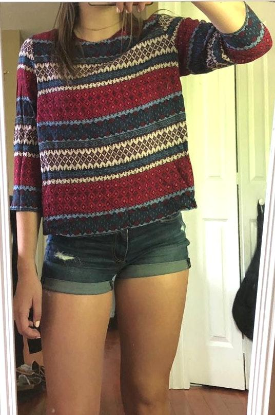 Divided Red, White, and Blue patterned top