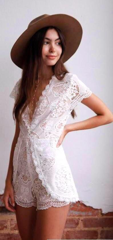 American Threads Crochet Lace Romper
