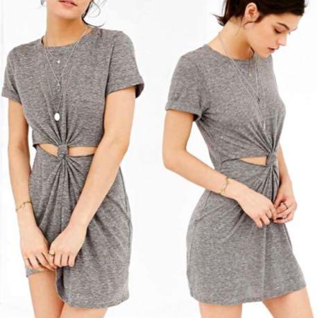 Impeccable Pig Grey Cutout T-shirt Dress