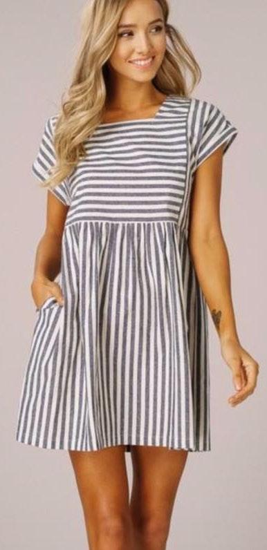 Striped Babydoll Dress