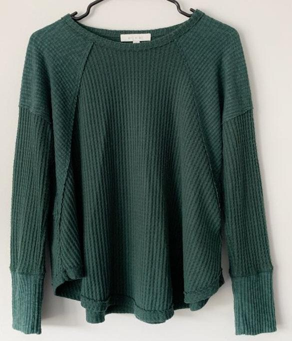 Anthropologie Green Waffle Sweater