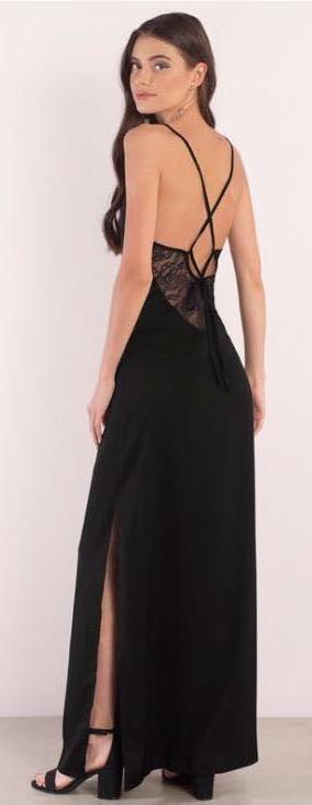 Tobi Long Backless Black Formal Dress