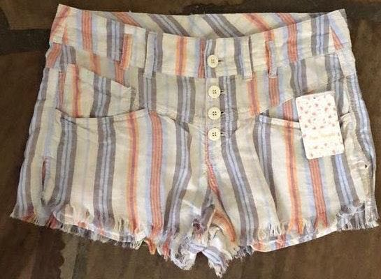 Free People Picture Perfect Striped Fringe Short