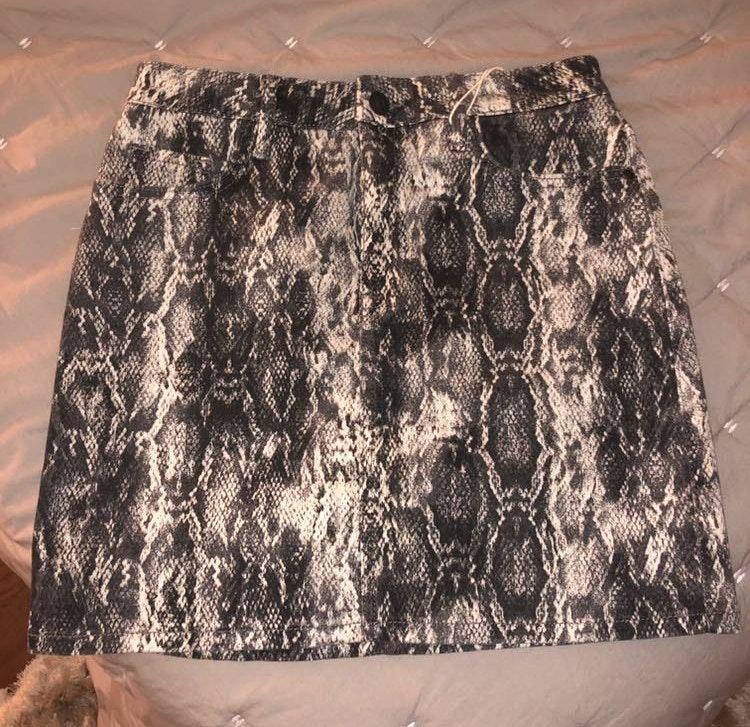 ZARA snakeskin print skirt