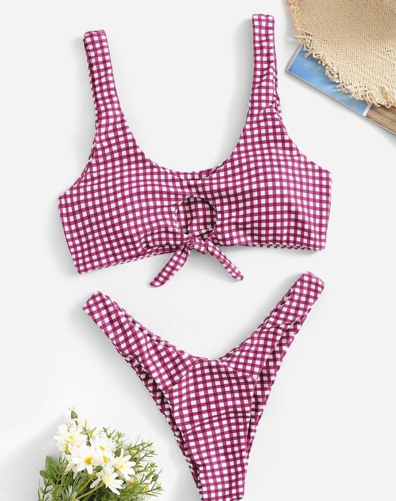 Maroon Checkered Bikini
