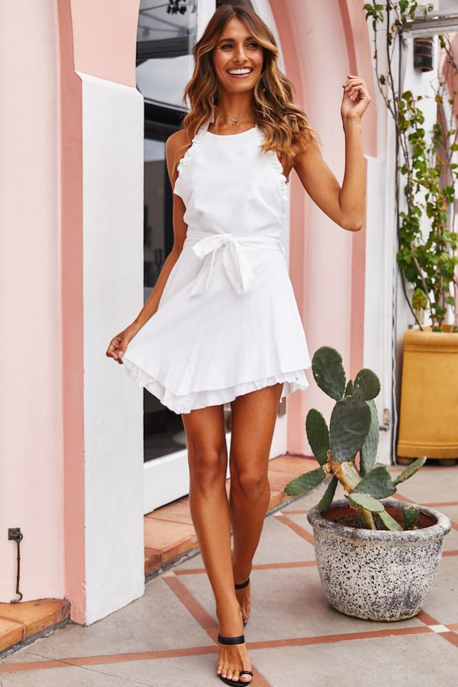 Hello Molly White  Halter Dress