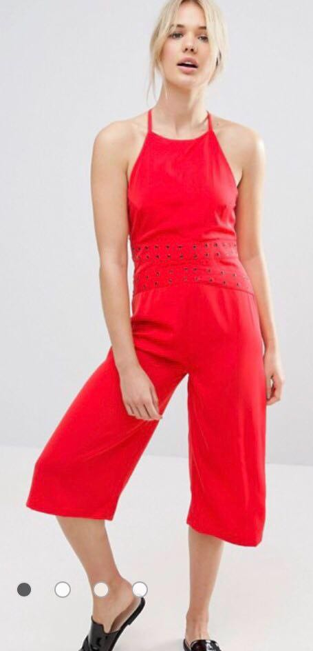 ASOS Red Culotte Jumpsuit