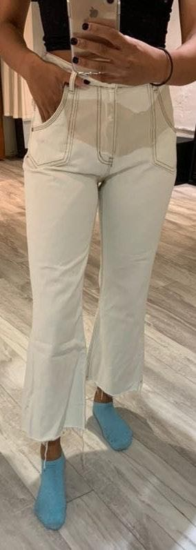 One Teaspoon Off White Cropped Flare Jean