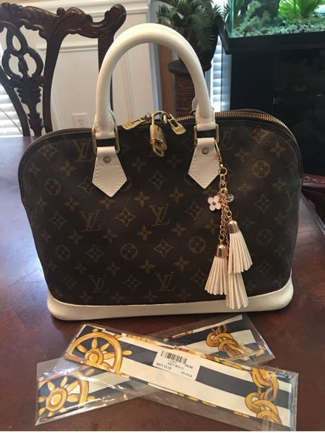 Louis Vuitton Authentic Alma Satchel Custom White