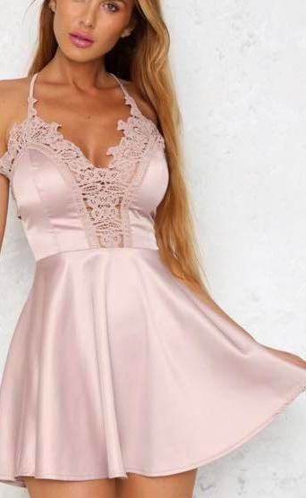 Hello Molly Light Pink Satin Dress