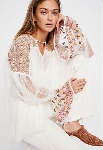 Free People New Ivory Sheer embellished Top