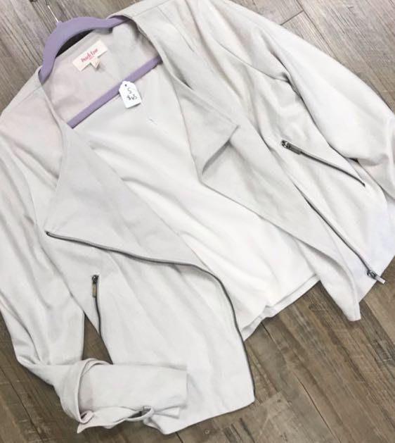 Peach Love White Suede Jacket