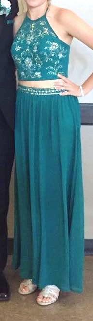 Dillard's Green Two Piece Prom Dress