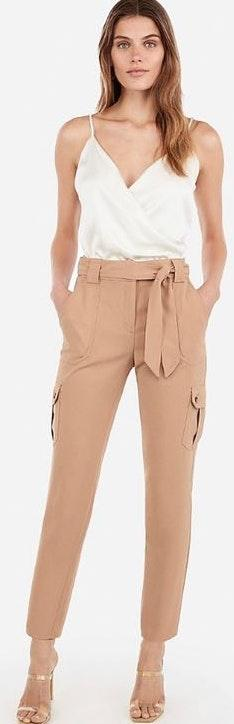 EXPRESS High Waisted Sash Tie Utility Cargo Ankle Pant