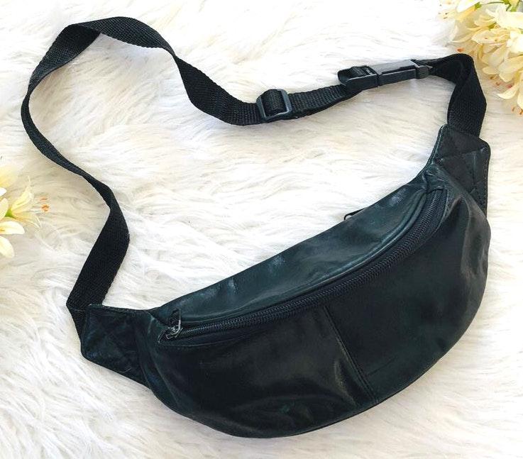 Vtg Genuine leather 2 pocket Fanny pack