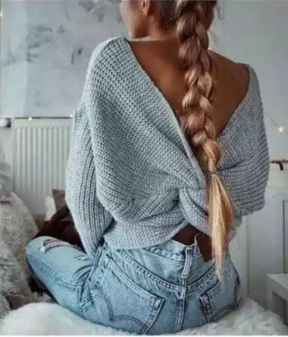 Gray Knotted Cross Back Sweater Nwt