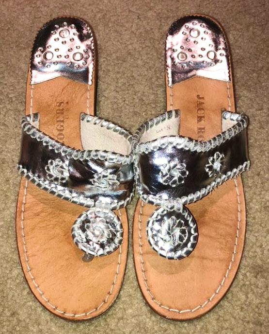 Jack Rogers Silver Wedge Sandals