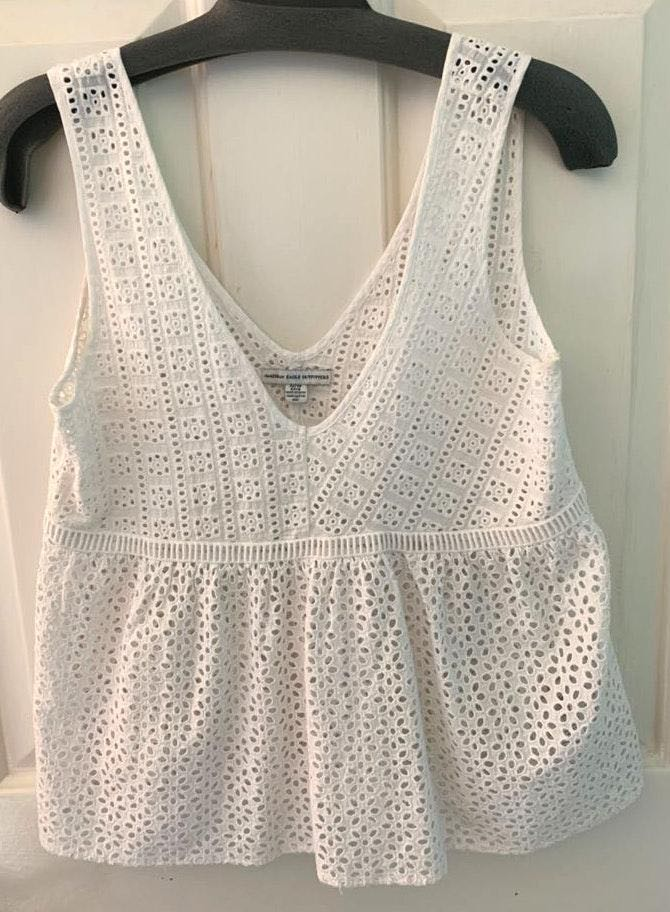 American Eagle Outfitters White lace V-neck Tank