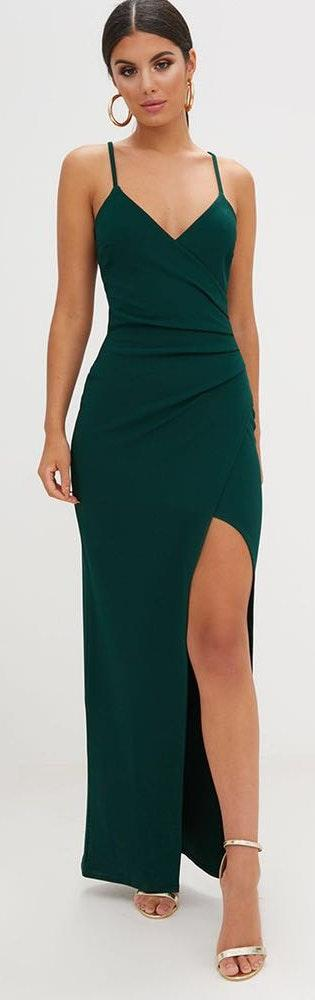 b8d061cc6e6 Pretty Little Thing Emerald Green Wrap Front Crepe Maxi Dress