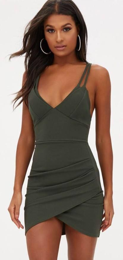 15343989c3 Pretty Little Thing Forest Green Bodycon Dress