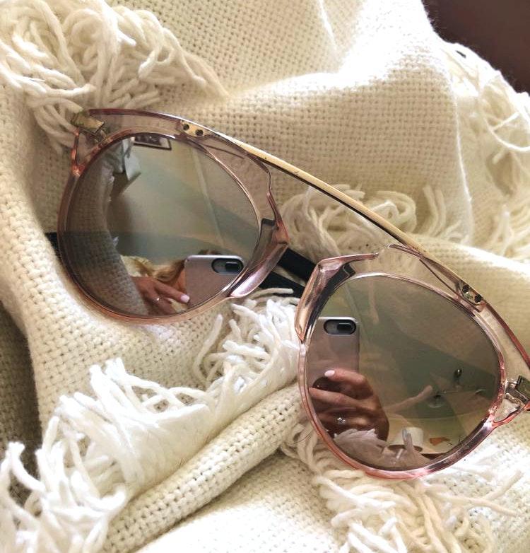Betsey Johnson Light Pink Mirrored Sunglasses