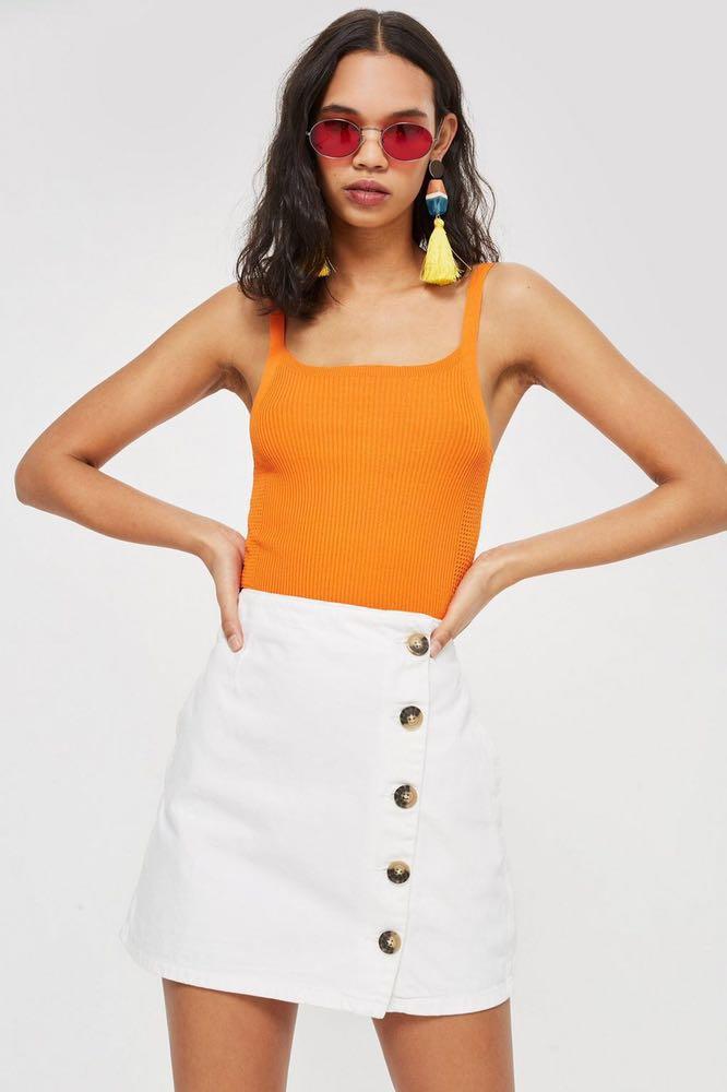 Topshop Horn Moto A-line Skirt